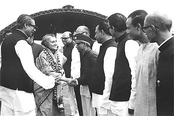 Sheikh Mujibur Rehman, the first President of independent Bangladesh, introduces then prime minister Indira Gandhi to members of his cabinet