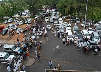 A large number of people gathered outside the secretariat seeking information about the CM