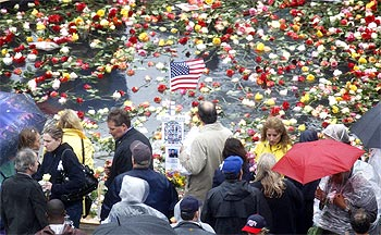 Family members of victims pay their respects at Ground Zero