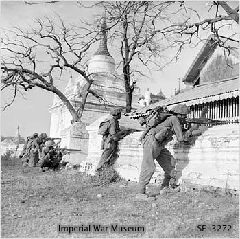 Indian troops among the pagodas of Mandalay, Myanmar.