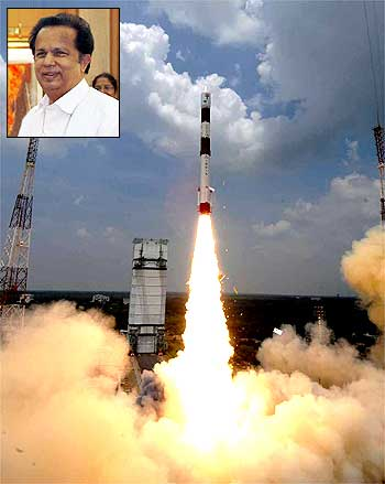 An ISRO mission takes off; inset Chairman G Madhavan Nair