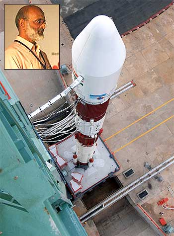 An ISRO rocket; inset, George Koshy