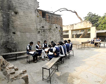 Students of a government-run school in Hyderabad