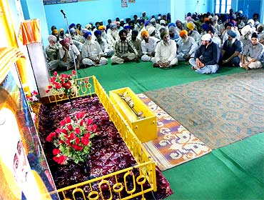 A prayer meeting for Kuldeep Singh, one of the 17 convicts