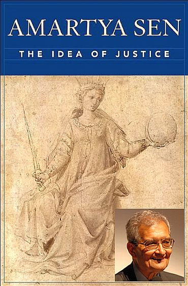 Jacket of Amartya Sen's latest book The Idea of Justice. (Inset) Amartya Sen