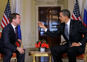 Obama holding talks with Russian President Dmitry Medvedev