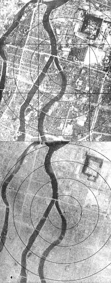 Photos taken before (above) and after the Hiroshima bombing.
