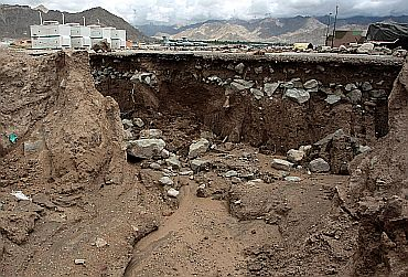 A landslide caused by the disastorous cloudburst in Leh