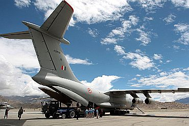 An IAF rescue plane lands in Leh