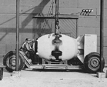 File photo shows the 'Fat Man' prior to being loaded onto the bomber