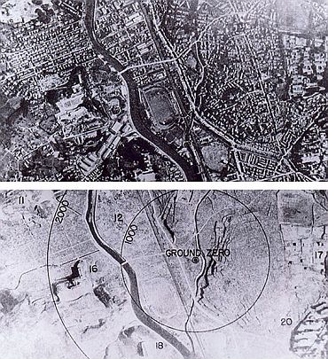 Nagasaki before and after (Below) the bombing
