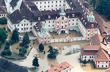 An aerial view of the flooded area at Saint Marienthal near the town of Ostritz at the Polish border