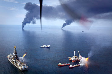 Oil is burned off near the source of the Deepwater Horizon spill