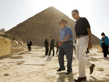 Obama at the Great Pyramids of Giza, Egypt, in June 2009