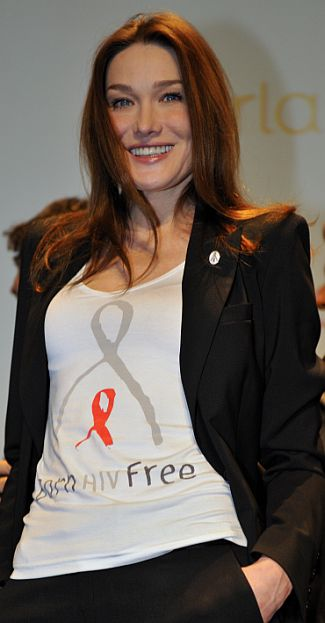 File photo shows Carla attending the international launch of the Born Hiv Free campaign in Paris