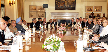 Dr Singh and Pranab Mukherjee at the delegation-level talks in New Delhi
