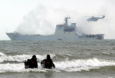Marines from the PLA Marine Corps take part in a drill