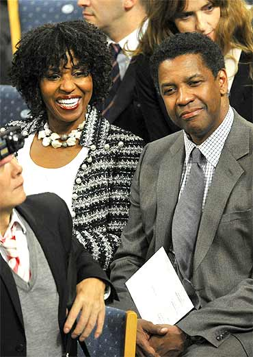 US actor Denzel Washington and his wife Pauletta at the ceremony