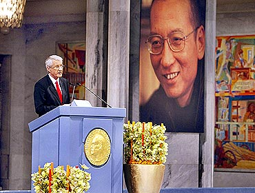 Norwegian Nobel committee chairman Thorbjoern Jagland speaks during the Nobel Peace Prize ceremony