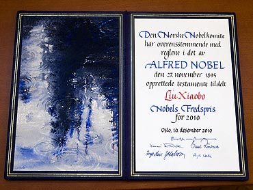 The certificate awarded to this year's Nobel Peace Prize Laureate Chinese dissident Liu Xiaobo