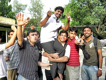 D Udaya Kumar with friends from IIT-Bombay soon after news came in of his design being selected as the Rupee symbol.