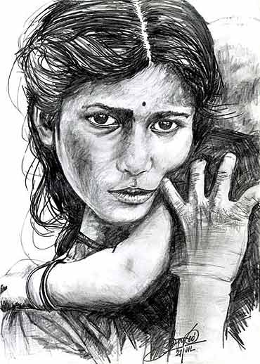 A pencil sketch by D Udaya Kumar