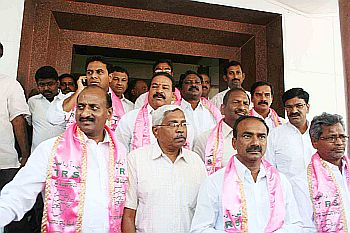 File photo of  Telangana Rashtriya Samithi legislators with JAC convener Prof Kodandaram (centre) in Hyderabad