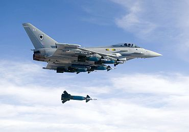Royal Air Force No X1 Squadron Typhoon dropping Paveway 2 Bomb at Green flag