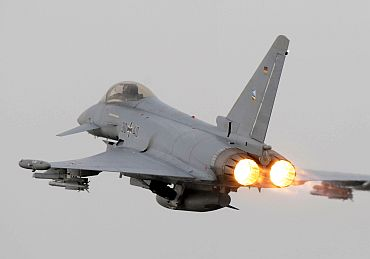 German Air Force Eurofighter from JG-74 Neuburg, Germany taking of on a QRA sortie