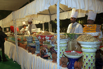One of the food stalls at the dinner venue
