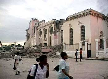 A building destroyed by the earthquake.
