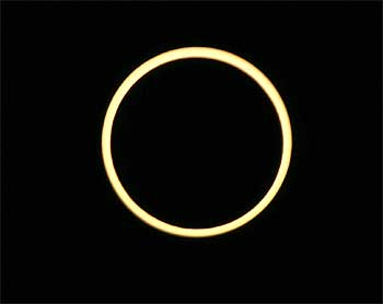 An Annular solar eclipse occurs over the skies of Rameswaram.