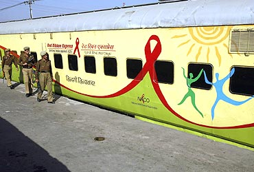 The Red Ribbon Express train at Jammu railway station