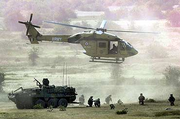 An Indian Army Dhruv helicopter operates during 'Yudh Abhyas 09', a joint Indo-US training exercise