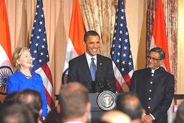 US President Barack Obama with Secretary of State Hillary Clinton and Indian External Affairs Minister S M Krishna