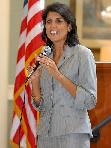 Nikki Haley speaks at a meeting at Francis Marion University in Florence, South Carolina
