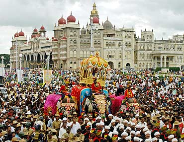 People attend the annual Dussehra celebration in Mysore