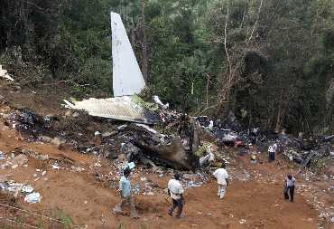 The wreckage of the crashed Air India Express plane