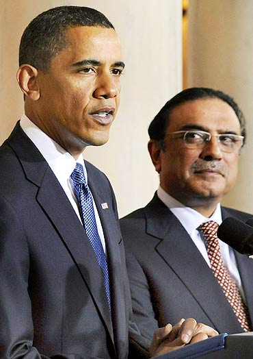 Obama with Pakistan's President Asif Ali Zardari