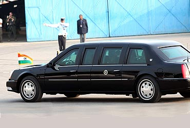 US President Obama and his wife Michelle Obama leave in a special Cadillac Car for Humayan's Tomb