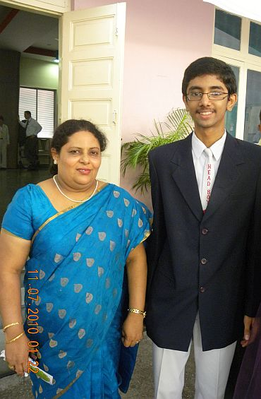 School head boy Juzer Furniturewala with science teacher Shalini Kunder