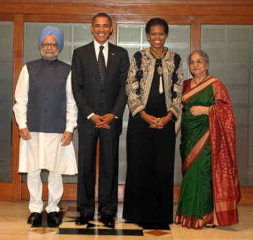 Prime Minister Manmohan Singh with US President Barack Obama, First Lady Michelle Obama and Gursharan Kaur