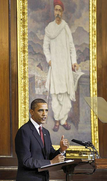 United States President Barack Obama addresses a joint session of the Indian Parliament on Monday