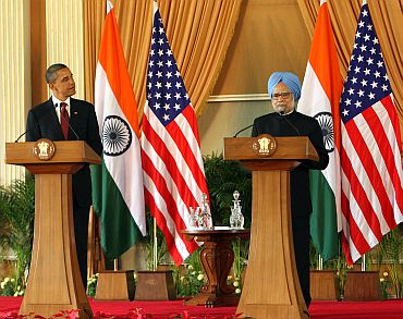 Dr Singh and Obama at the press conference
