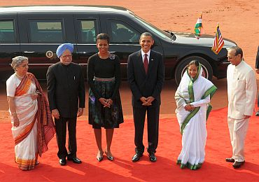 Barack Obama's Monday in New Delhi