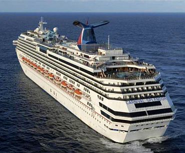 The Carnival cruise ship Splendor sits adrift approximately 150 nautical miles southwest of San Diego