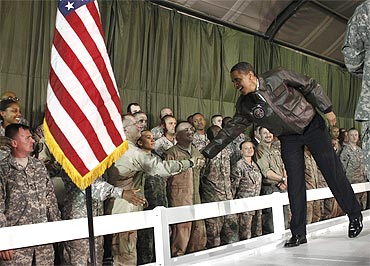US President Obama meets with American troops at Bagram Air Base in Kabul