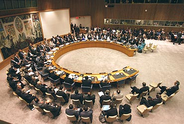 The United Nations Security Council meets at UN Headquarters in New York