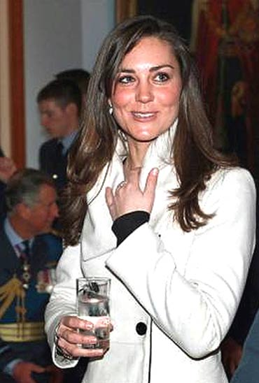 Kate Middleton smiles during Prince Williams' graduation ceremony at RAF Cranwell