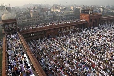 Muslims perform the Eid al-Adha prayers at the Jama Masjid in Old Delhi